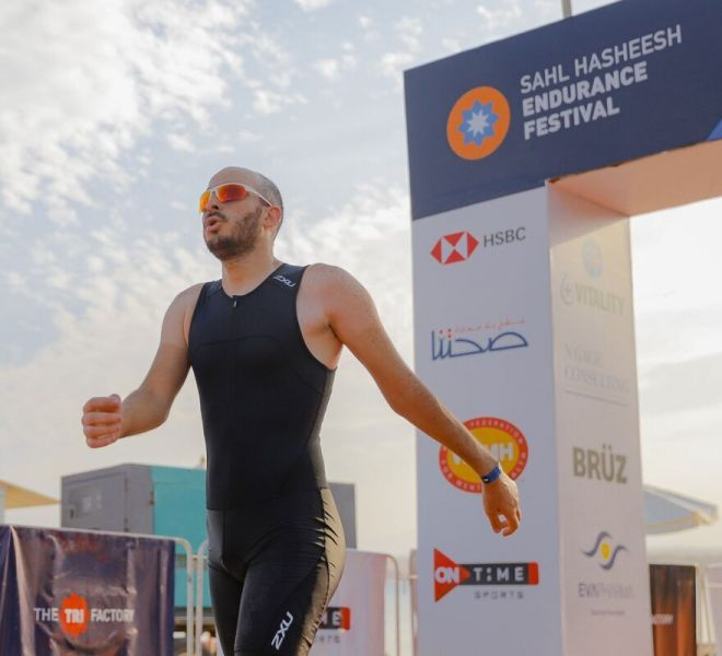 Nabil Adel CFO of Optomatica crossing the finish line at Sahl Hasheesh Endurance Festival – 10th Edition Triathlon